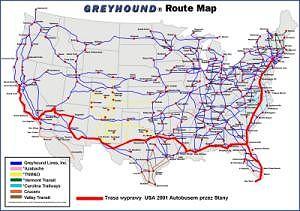 Mapa USA z zaznaczoną trasą wyprawy